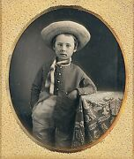 Boy Wearing Large Straw Hat With Rope Around Neck 1/6 Plate Daguerreotype G863