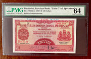 """Barbados 1937-40 20 Dollars P S112cts Pmg 64 Choice Unc """"color Trial Specimen"""""""