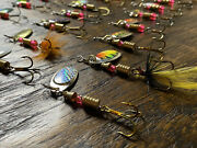 30 Pcs Spinner Bait Rooster Tail Trout Bass Metal Lure Crappie Panfish Lure