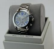 New Authentic Bradshaw Silver Chrono Crystals Womenand039s Mk6320 Watch