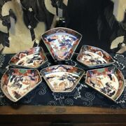 Koimari Antique Imari Gold And Colorful Painting Fan Shaped 6pieces From Japan