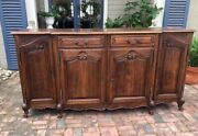 Antique French Long Country Buffet Sideboard Provence 4 Door Shell Hand Carved