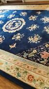 Gorgeous Antique Blue Art Deco Chinese Oriental Area Rug Wool Hand-knotted 9x12