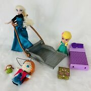 Disney Frozen Elsa Anna Toy Lot Sled Dolls Little Kingdom Bed And Accessories