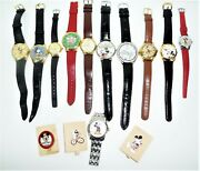 Large Lot Of Disney Watches And Brooches Mickey Mouse Collectibles