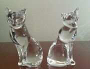 Lenox Clear Glass Crystal Cats 1993 And 1994