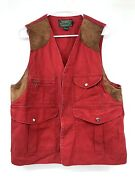 Vintage Country Duck Hunting Vest Leather Yoke Menandrsquos Small