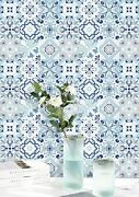 Wallpaper Floral Flower White Blue Tile Peel And Stick Removable Waterproof