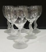 Set Of 6 Lenox Swan Lake Water Wine Goblet Glasses Frosted Stems 7 5/8 W/papers
