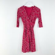Womenand039s 41 Hawthorne Pink And White Faux Wrap Dress Sz Xs