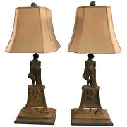 Pair Of Vintage Figural George Washington Table Lamps Converted From Andirons