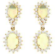 4.10ct Diamond And Aaa Opal 14kt Yellow Gold Oval And Round Flower Hanging Earrings