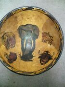 Antique Primitive Wood Hand Painted Dough Bowl Hand Turned Vintage 1900and039s