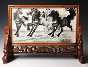 Antique Two-sided Chinese Porcelain Famille Verte Table Screen W/ Cliff And Horses