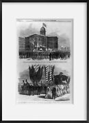 Vintage 1865 Photograph Funeral Service Of President Lincoln, At Chicago, May 1