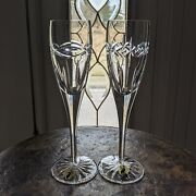 Waterford Crystal Dolmen Fluted Champagne Flute Glass Celtic Knot New Old Stock