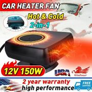 Car Portable Electric Heater 12v 150w Cooling Fan Auto Demister Defroster Dc Us