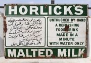 1940and039s Vintage Old Rare Horlickand039s Malted Milk Ad Porcelain Enamel Sign Board