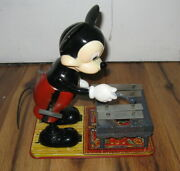 Vintage Walt Disney 1950s Mickey Mouse Musician Xylophone Marx Wind Up Toy