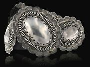Rare Signed 1970and039s Orval Tsinnie Traditional Navajo Sterling Silver Concho Belt