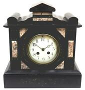 Antique Luxury Fine French Slate Mantel Clock 8-day Architectural Striking C1900