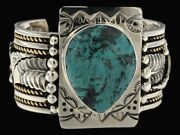 Signed Navajo Old Pawn Turquoise Sterling Silver 14k Gold Overlay Cuff Bracelet
