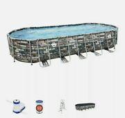 Coleman 26and039 X 12and039 X 52 Power Steel Oval Above Ground Pool Set W/ Wifi Pump New