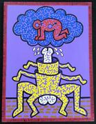 Keith Haring Acrylic Paint On Canvas Signed Framed 1988 Certificate Fedex F/s