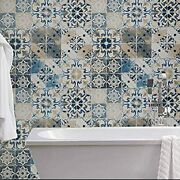 Blue Tile Wallpaper Peel And Stick Vintage Contact Paper Removable Waterproof