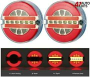 12v 24v Led Thin Rear Tail Stop Round Lights Indicator Lorry Trailer Chassis E9