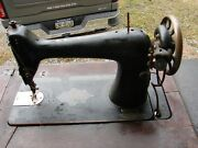 Antique Singer Treadle Sewing Machine In Oak Cabinet Red Eye 7 Drs Sg8040699