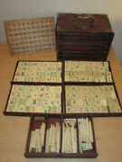 Antique Chinese Mah Jong Mahjong Game In Wooden Case 145+ Tiles With Bamboo Sti