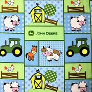 John Deere Animal Baby Barn Yard Patch Tractor Sewing Quilting Fabric Fq