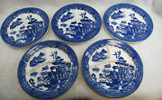 Blue Willow Divided Grill Plates August Hashagen Ny Made England Lot Of 5 S9662