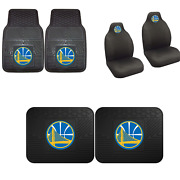 Golden State Warriors Car Truck Front Rear Awesome Floor Mats Set And Seat Covers