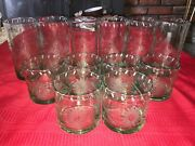 12 Bobby Flay Bfz1 Green Tint Highball And Lowball Rocks Etched Glass Hand Blown
