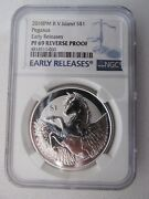 2018pm Bvi Silver 1 Pegasus Early Releases Pf69 Reverse Proof