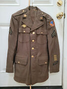 1942 Wwii Us Army 13th Air Corp Forces Military Officer Wool Jacket Coat - 38r