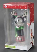 Disney Parks Mickey Mouse Reindeer Blown Glass Christmas Tree Topper New In Box