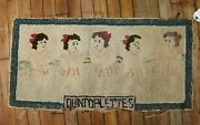 Vintage American Hook Hooked Dionne Quintuplets Rug Size 1and0394and039and039x2and0398and039and039
