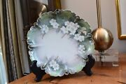 Rs Prussia Germany Porcelain Plate White Flowers Green Gold Stems Scallop Edge