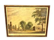 Antique Old Yale College And State House New Haven Ct Lithograph Print Framed Art