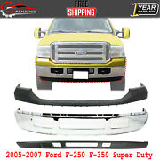 Front Bumper Chrome + Upper + Valance For 2005-2007 Ford F-250 F-350 Super Duty