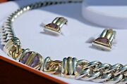 Christofle Amy Sterling Silver And 18k Gold Choker Necklace And Earrings Set
