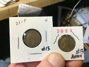 1921 And 1924 Pennies Lincoln Wheat Cents 2 Coins For 1 Price