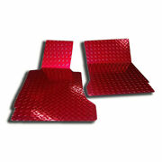 Red Diamond Plate Show Floor Mats For 2005-2013 Chevy Corvette [powder Coated]