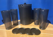 Tupperware Classic 2q Pitcher W/push Button And Set Of 4 Tumbler 16oz Black New