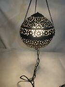 1960s Moroccan Indian Pierced Brass Pendant Swag Lamp Mcm Mid Century