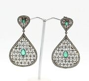 Antique Vintage Emerald And Diamond Gemstone 925 Sterling Silver Earring Jewelry