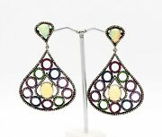 Victorian Ethiopian Opal And Multi-gemstone 925 Sterling Silver Earring Jewelry